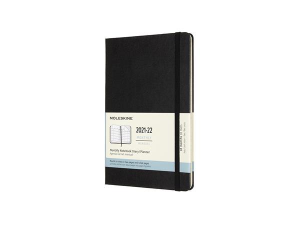 Moleskine 18 maanden 2021/2022 Maandagenda XL Hardcover Black